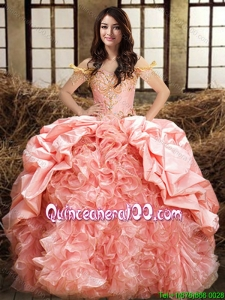 New Style Ruffled and Beaded Bubble Quinceanera Dress in Organza and Taffeta