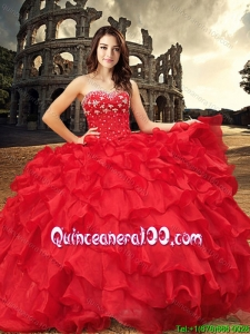 Western Style Fashionable Visible Boning Red Sweet 15 Dress with Beading and Ruffles