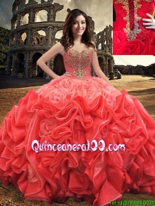 Western Style Popular Ball Gown Sweetheart Beaded Quinceanera Dress in Rolling Flowers