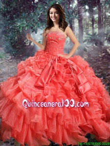 Western Theme Top Seller Strapless Beaded and Ruffled Organza Quinceanera Gown in Coral Red