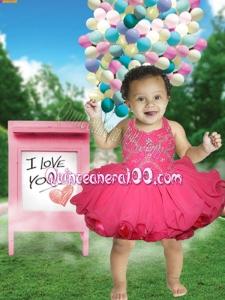 2014 Beading and Ruffles Halter Little Girl Dress with Knee-length