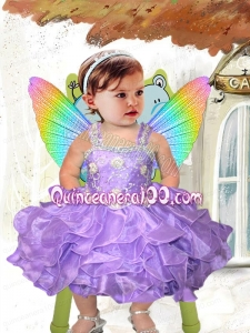2014 Elegant Straps Beading and Ruffles Little Girl Dress in Lavender