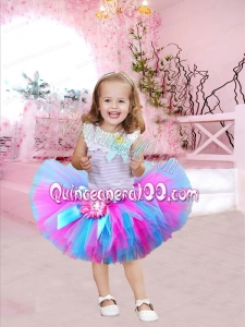 2014 Scoop Tulle Ball Gown Knee-length Little Girl Dresses with Bowknot