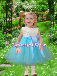 2014 Simple A-Line Scoop Tulle Little Girl Dresses with Bowknot