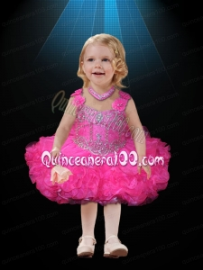 2014 Straps Backless Beading and Ruffles Little Girl Dress with Hand Made Flowers