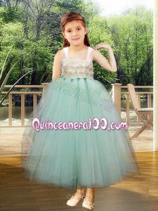 Ball Gown Straps Ankle-length Light Blue Little Girl Dresses with Appliques