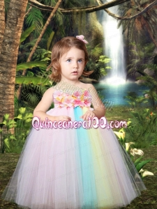 Colorful Princess Floor-length Little Girl Dresses with Strapless