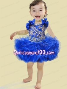 Cute Ball Gown Scoop Mini-length Beading Bowknot Royal Blue Little Girl Dress