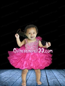 Fashionable Ball Gown Asymmetrical Mini-length Beading Bowknot Hot Pink Little Girl Dress