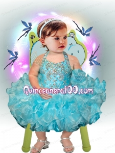 Fashionable Ball Gown Halter Top Tea-length Beading Bowknot Blue Little Girl Dresses