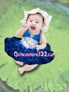 Fashionable Ball Gown Halter-top Beading Appliques Bowknot Royal Blue Little Girl Dress