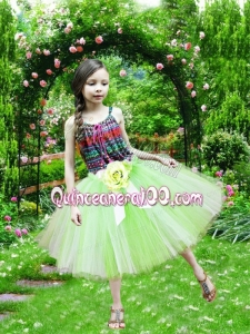 Fashionable Spaghetti Straps A-Line Knee-length Yellow Green Little Girl Dresses