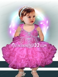 Pretty Beading and Ruffles Fuchsia Rose Pink Little Girl Dresses with Halter