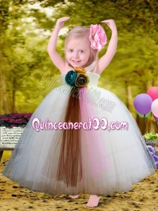 Pretty Halter Top Ball Gown Little Girl Dresses with Hand Made Flowers