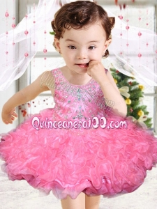 Rose Pink Scoop Beading and Ruffles Little Girl Dress with Lace-up