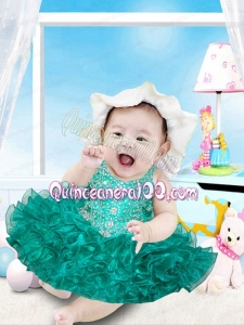 Sweet Ball Gown Halter Top Tea-length Beading Bowknot Green Little Girl Dresses