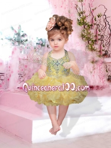 Fashionable Halter Top Knee-length Beading Bowknot Yellow Little Girl Dresses