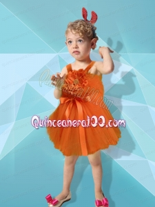 2014 Orange Red Short Mini-length Hand Made Flowers Straps Little Girl Dress