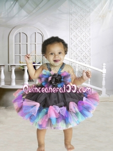 2014 Short Knee-length Hand Made Flowers Multi-color Little Girl Dress with Straps