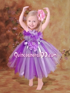 2014 Short Tea-length Hand Made Flowers Little Girl Dress with Straps