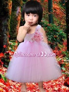 A-Line One Shoulder Hand Made Flowers Cute Little Girl Dress with Tea-length
