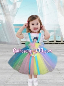 A-Line Straps Hand Made Flowers 2014 Little Girl Dress in Multi-color