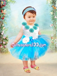 Blue Ball Gown Scoop Knee-length Little Girl Dresses with Bowknot