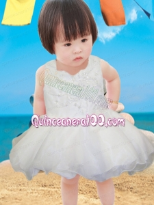 Cute A-Line Mini-length Beading Bowknot White Little Girl Dress with Square