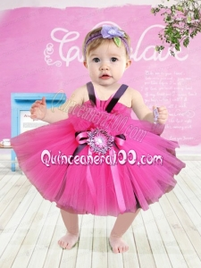 Cute Straps Tea-length Little Girl Dress with Hand Made Flowers