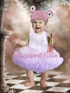 Elegant A-Line Scoop Little Girl Dresses with Appliques Bowknot in Lavender for 2014
