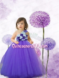 Lavender A-Line Tulle One Shoulder Floor-length Little Girl Dress for 2014