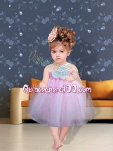 Lilac Hand Made Flowers One Shoulder Fashionable Little Girl Dress for 2014