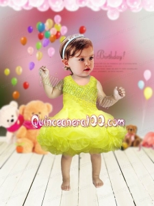 Modest A-Line Scoop Little Girl Dresses with Appliques Bowknot in Yellow for 2014
