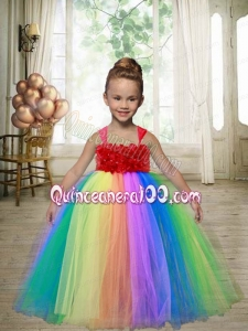 Multi-color A-Line Tulle Straps Floor-length Appliques Little Girl Dress for 2014