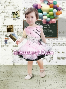 Pink and Black Bateau Mini-length Lace Bowknot Beautiful Little Girl Dress