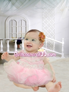 Pretty A-Line Scoop Appliques Bowknot Little Girl Dress in Pink for 2014