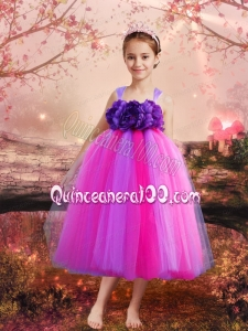 Pretty A-Line Tulle Straps Multi-colored Little Girl Dress for 2014