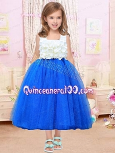 Pretty Appliques Royal Blue A-Line Tulle Square Little Girl Dress for 2014