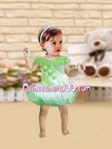 Romantic A-Line Mini-length Appliques Bowknot Green and White Little Girl Dress with V-neck