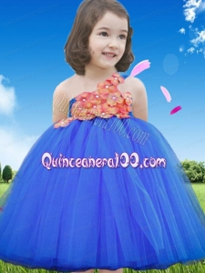 Royal Blue A-Line Tulle One Shoulder Modest Appliques Little Girl Dress for 2014
