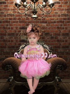 Sweet Ball Gown Straps Pink Little Girl Dresses With Appliques