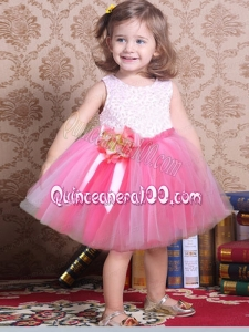 The Most Popular Scoop Knee-length Tulle 2014 Little Girl Dress with Hand Made Flowers