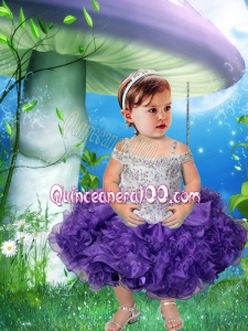 White and Purple Straps Tea-length 2015 Little Girl Dresses with Beading and Bowknot