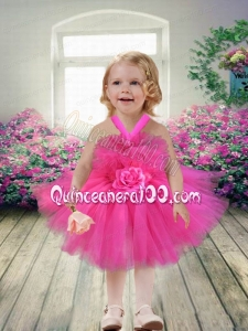 2014 Beatiful Short Knee-length Hot Pink Little Girl Dress with Halter Top