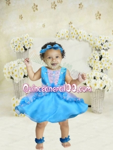 2014 Beautiful Scoop Mini-length Little Girl Dress in Aque Blue