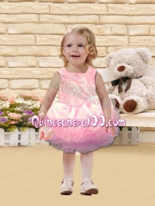 2014 Cute Scoop Backless Knee-length Pink Little Girl Dress with Beading and Ruffles