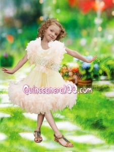 2014 Exclusive A-Line Knee-length Ruffles and Hand Made Flowers Little Girl Dress with Scoop