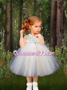 2014 Halter Bowknot Tulle Knee-length Little Girl Dress in White