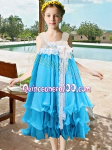 2014 Lace and Bowknot A-Line Square Baby Blue Little Girl Dress with Tea-length