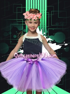 2014 Lilac Halter Bowknot Tulle Little Girl Dress with Knee-length